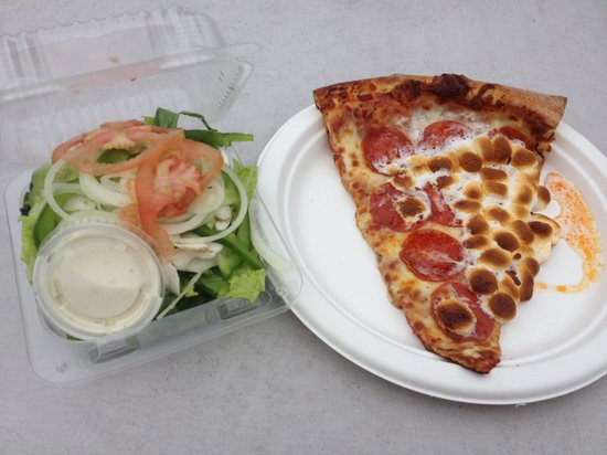 Pizza Hawaii of Hilo Inc. : Michelangelo special (pepperoni and marshmallow) with a side salad
