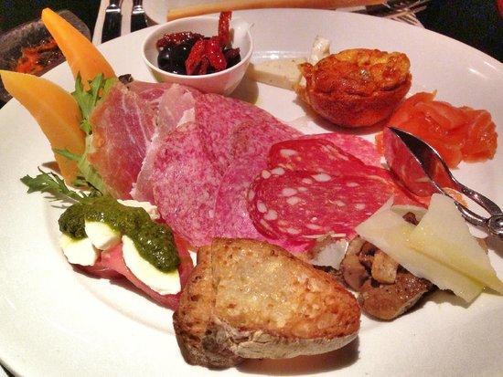 Rosso: The Appetizer: Antipasto Rustico; Prosciutto di Parma, Tuscany Salami, Rock Melon, Mortadella,