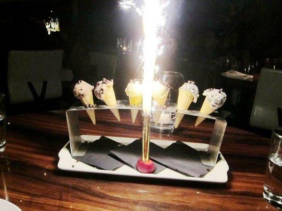 STK: lovely birthday icecream cones and fireworks =)