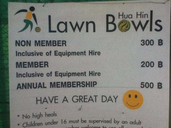 Hua Hin Lawn Bowls : Costs