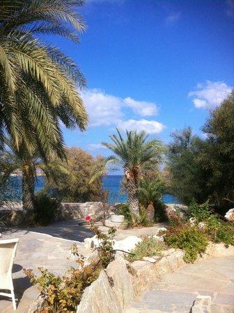 Sitia Beach City Resort & Spa : vue de la mer depuis une terrasse de l'hôtel