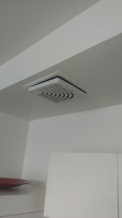 Somerset on the Pier Hobart : Poorly maintained kitchen exhaust fan cover falling from the ceiling