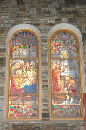 Saigon Notre Dame Cathedral: Window glass panel inside Cathedral