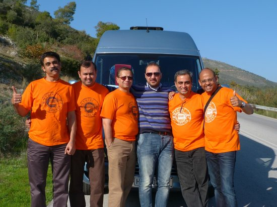 Athens Rent a Minibus - Tours: Our Group with the Driver Kostas and the Mini Bus behind