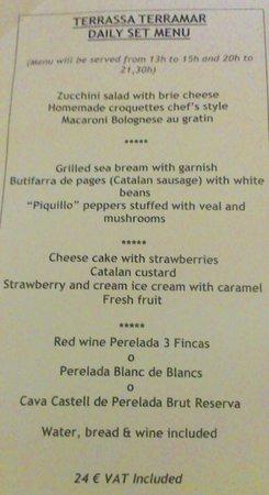 Hotel Terramar: A menu