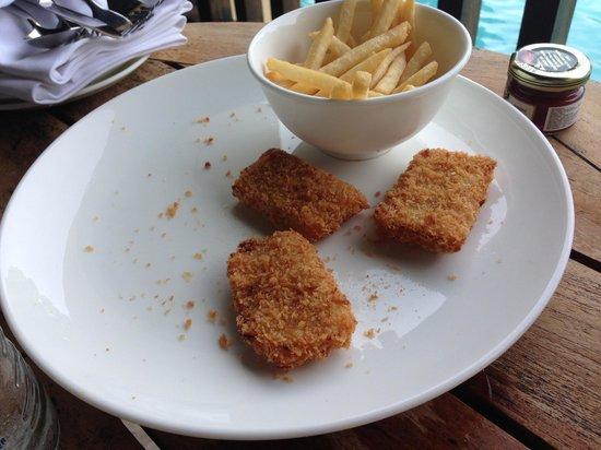 Conrad Bali: Our $12USD chicken nuggets - all 3 of them.