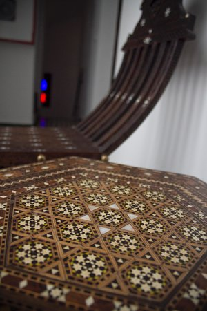 Dar Fes Medina: Detail of handcrafted furniture in Riad