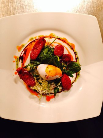 The Ragged Cot Restaurant: Warm salad of chorizo and poached duck egg