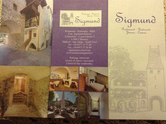 Restaurant Sigmund Ristorante: Restaurant Sigmun'd brochure