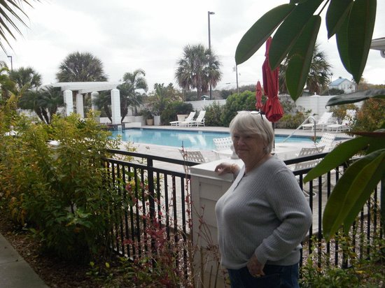Lighthouse Inn at Aransas Bay: Marilyn outside of the pool. We did not use it.