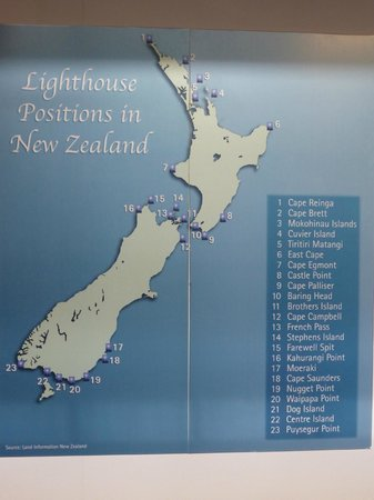 Museo Marítimo Voyager de Nueva Zelanda: Location of Lighthouses around New Zealand