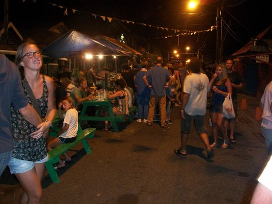 Gros Islet Street Party: View up the street