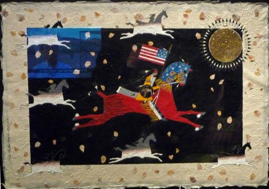 National Museum of the American Indian : Mixed media art showing George Washington