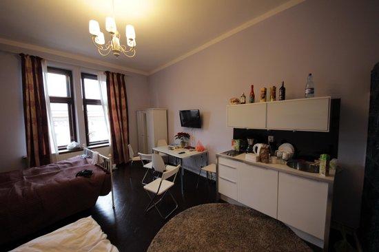 Apartamenty Dluga 27: большая комната с мини-кухней