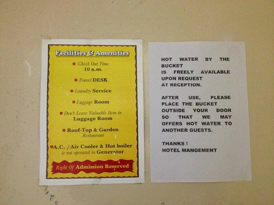 Hotel Sidhartha: rules and hot water