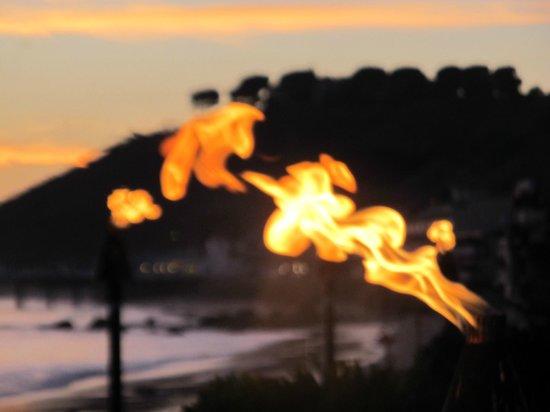 Nobu Malibu: Gas lights in evening