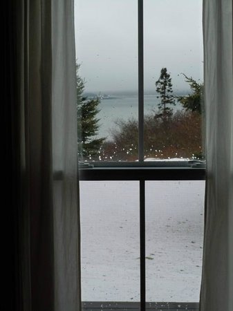 West Quoddy Head Station: Snowy day water view from The Cottage