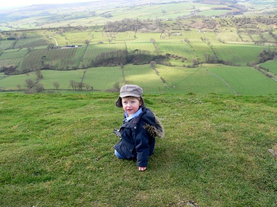 Wheeldon Trees Farm Holiday Cottages: Grandson on top of Wheeldon Hill