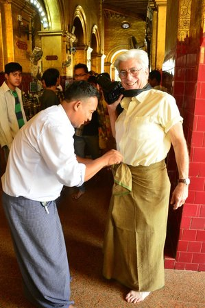Hotel Yadanarbon: our driver...helping a colleague enter a temple...