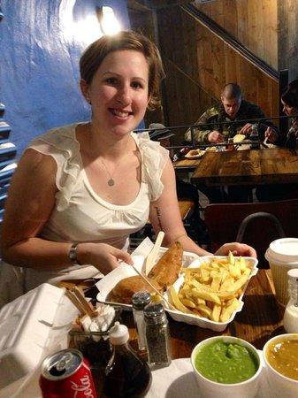 Grosvenor Fish Bar: My good friend eating the best food!!