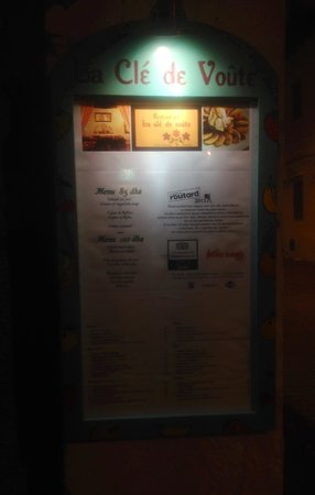 La Cle de Voute: The menu outside
