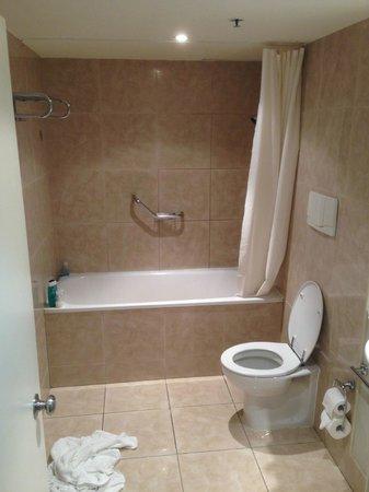 Millennium Hotel Rotorua : shower, note no drain, exhaust and awkward