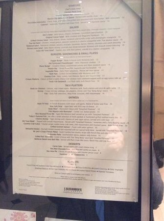 J Alexander's Restaurant: Menu details