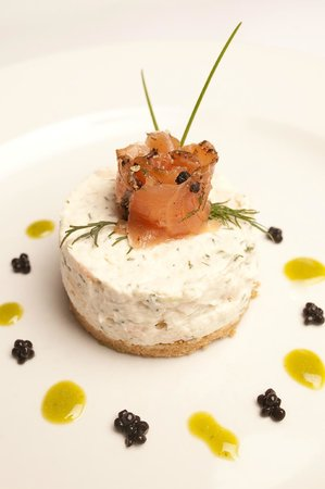 fusion brasserie: smoked trout cheesecake