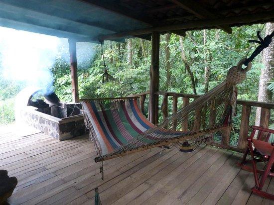 La Carolina Lodge: Back porch of cabin w/ private hot tub