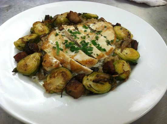 Lefty's Grill : Seared chicken w/roasted brussel sprouts--one of our daily specials