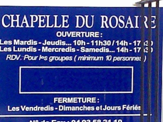 Chapelle du Rosaire : Orari Apertura