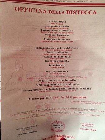 Officina Della Bistecca: menù