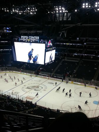 Pepsi Center: Our seats about 5 rows down from the uppermost wall. Not bad, eh?