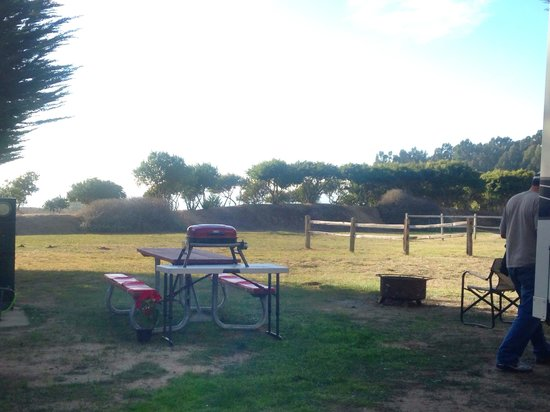 Santa Cruz North / Costanoa KOA: Picnic table & fire pit provided