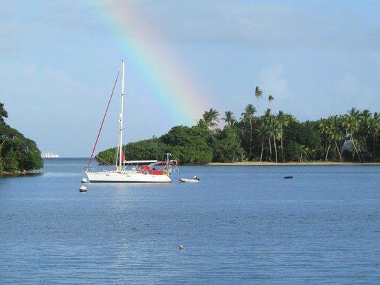 Novotel Suva Lami Bay : Small island across bay; beautiful rainbows.