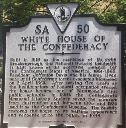 The White House and Museum of the Confederacy : The historic marker