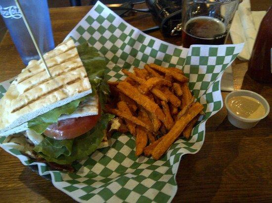 Waddell's Neighborhood Pub & Grill: Turkey Club with Sweet Potato Fries