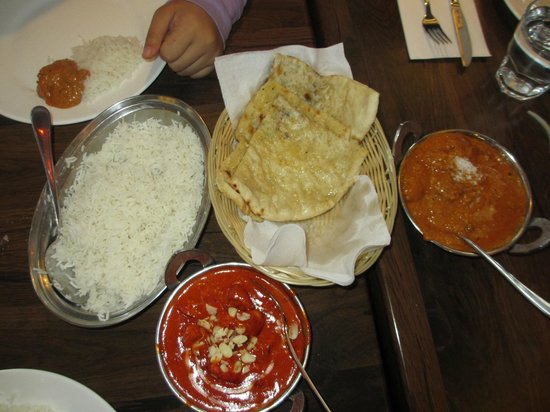 Lovely India Tandoori Restaurant: Basmati Rice, Butter Chicken, Garlic Butter Nan Bread and Lamb Madras