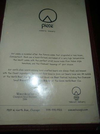 Piece: Front of menu