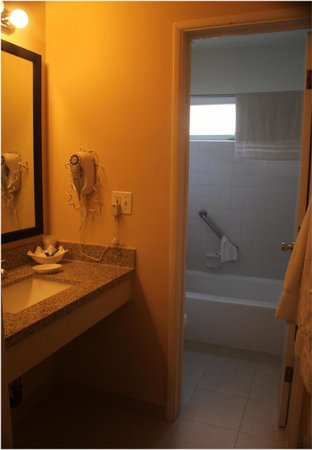Hollywood Orchid Suites : View of vanity leading to bathroom - bath/shower & toilet