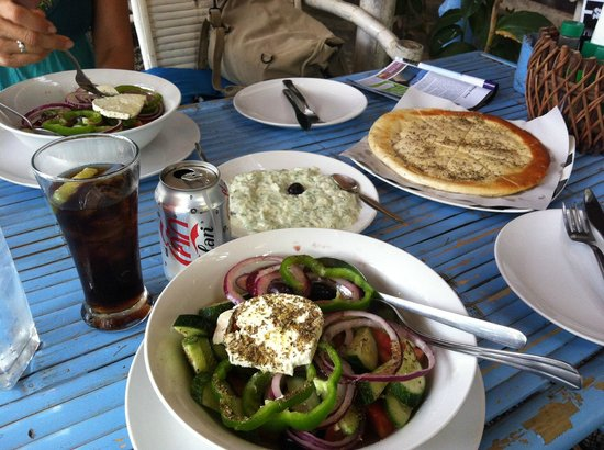 Greek Taverna: Greek salads with pita and tzatziki