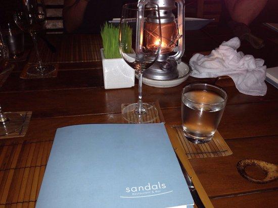 Sandals menu