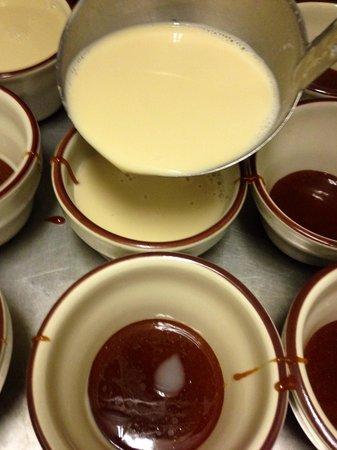 Saint Tropez Bistro: Crème Caramels in the making