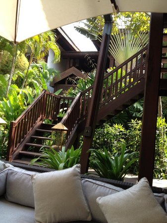 Belmond La Residence d'Angkor: our chill out zone...the deck below the Martini Bar.
