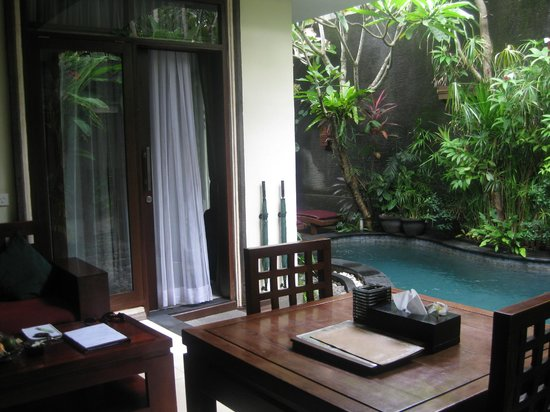 The Bali Dream Suite Villa : Our  private kitchen/dining/lounge & pool.