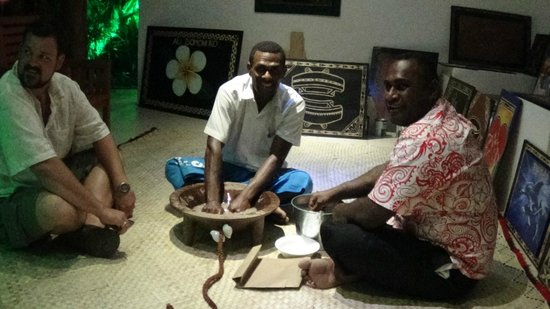 Tropica Island Resort: Activites after dinner every night, including this Kava Ceremony with Ice and Mak