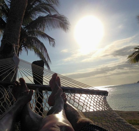 Tropica Island Resort: lazing in our hammock outside our room
