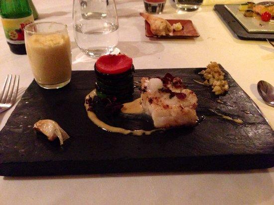 Marc De Passorio : Cabillaud fleur de sel avec légumes type ratatouille et polenta