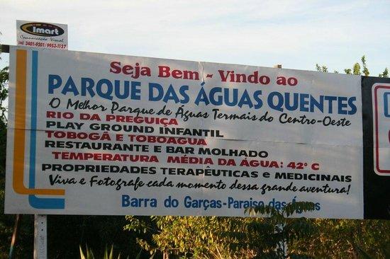 Barra do Garças, MT: entrada das águas quentes