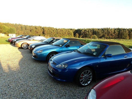 Our MGF/TF's enjoying the evening sunshine on the car park at Elmfield House